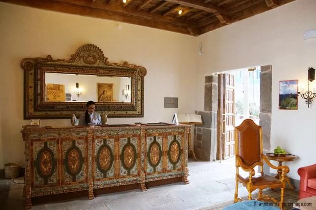The reception of the Belmond Palacio Nazarenas luxury hotel in Cusco
