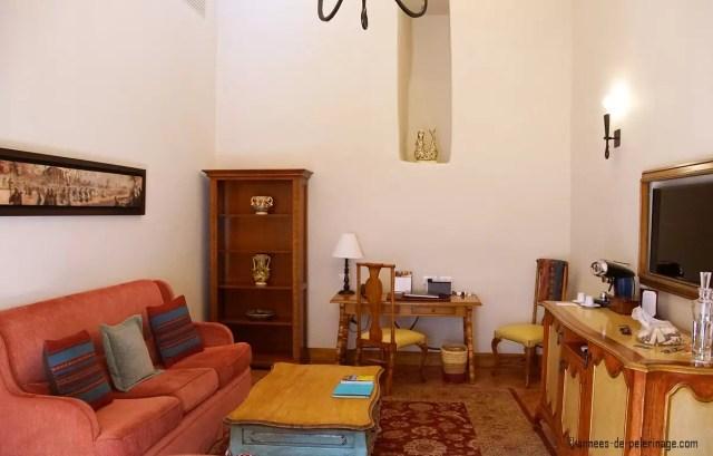 The sitting room in my premium suite at Belmond Palacio Nazarenas in Cusco, Peru