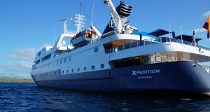 The Celebrity Xpedition cruise ship in the waters around Galapagos. Truly the best cruise ship there is