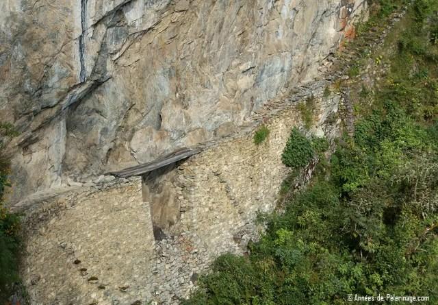 The inca bridge at the far end of Machu Picchu