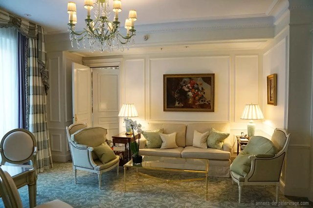 A sitting area inside a suite of the Four Seasons Hotel George V in Paris