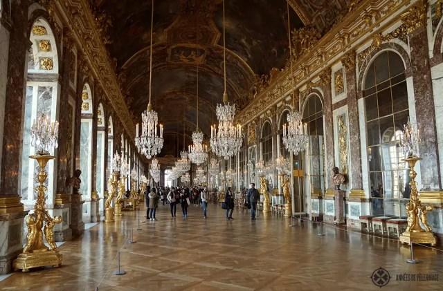 Hall of Mirrors in Versailles castle, Paris