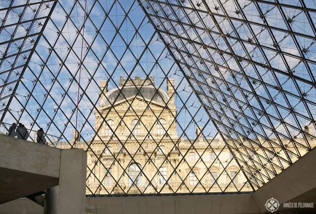 INside the glass pyramid of the Louvre Museum
