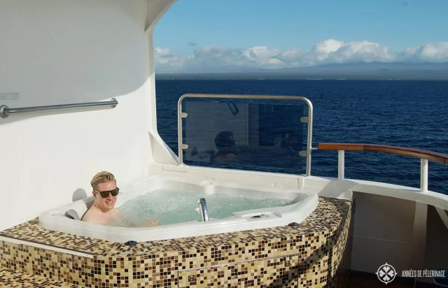The private jacuzzi of my penthouse suite onboard the Celebrity Xpedition Galapagos luxury cruise ship