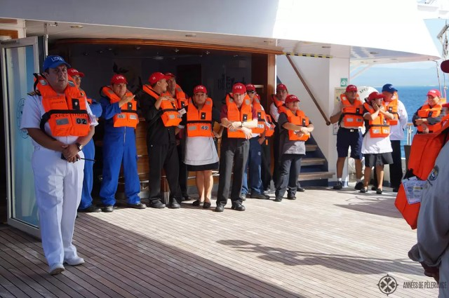 Saftey drill onboard the Celebrity Xpedition Galapagos Cruise ship