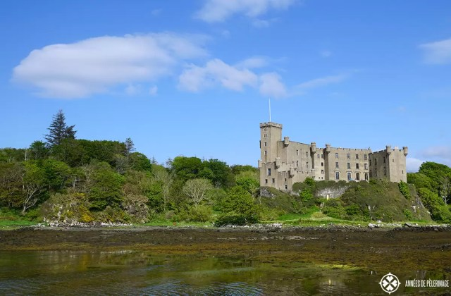 Dunvegan Castle on the on the Isle of Skye in Scotland at low tide