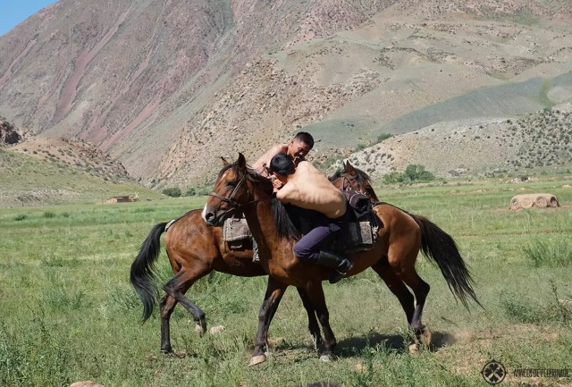 A game of ordarysh. The wrestling game is done on horseback. Whoever falls down first, loses. Definitely put this on your list of things to do in Kyrgyzstan
