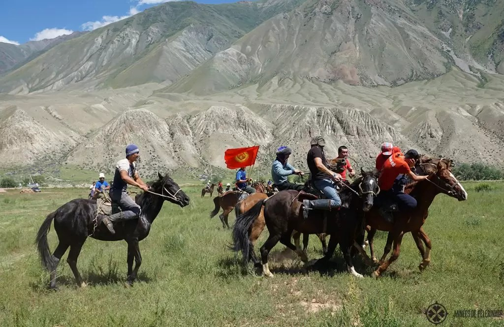 A game of Ulak tarish. The horse game is Kyrgyzstan's national game and fun to watch