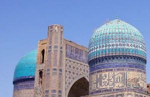 blue tiled domes of the Bibi-Khanym Mosque in Samarkand, Uzbekistan