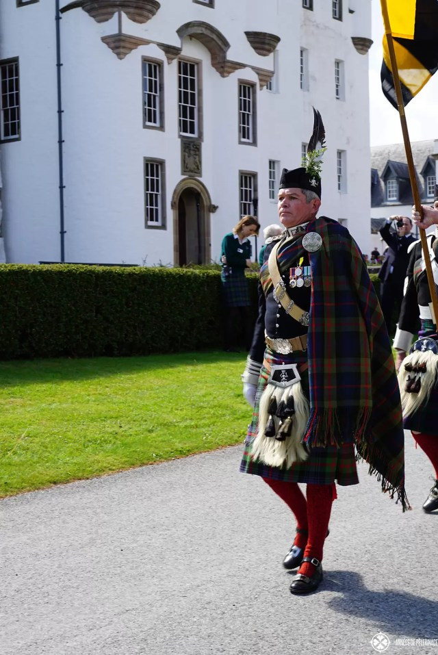 The duke of atholl in front of Blair castle near Blair Atholl, Scotland