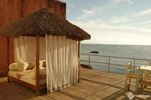 The terrace of the Titilaka lodge in Peru. One of the best luxury hotels in Peru