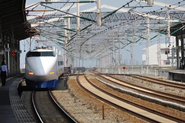 Shinkansen bullet train as it enters a train station in Japan   pic: Takeshi Kuboki