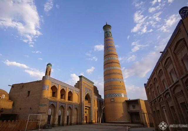 The Islam-Khodja complex with its tall minaret in Khiva, Uzbekistan