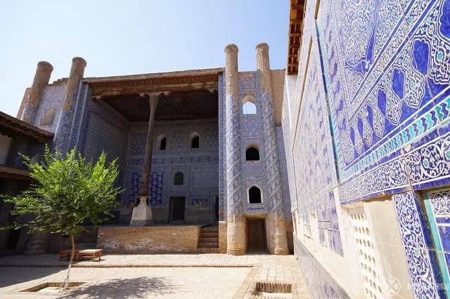 The blue courtyards in the Tash-Kauli Palace in Khiva, Uzbekistan