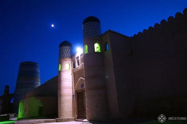 The city of Khiva, Uzbekistan, at night