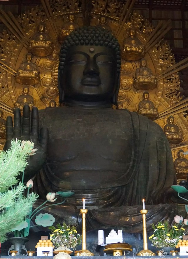 The daibutsu inside the Todai-ji temple in Nara, Japan