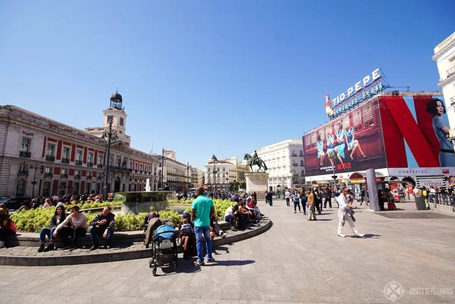 The puerta del Sol square right in the center or madrid, Spain