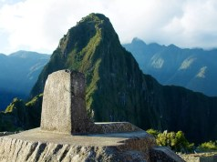 The Intihuatana stone casting its shadow close to solstice in Machu Picchu, Peru
