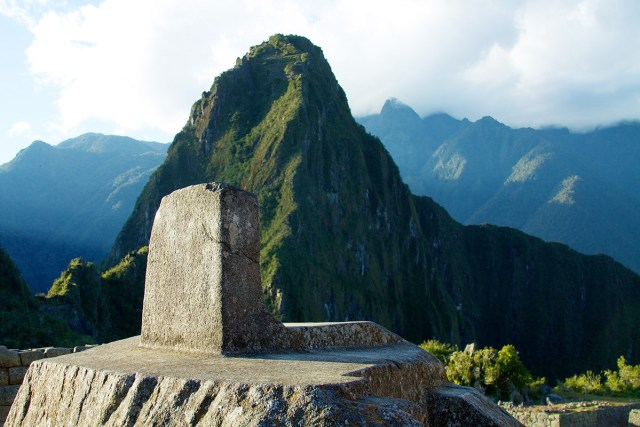 The Intihuatana stone casting its shadow close to solstice in Machu Picchu, Peru