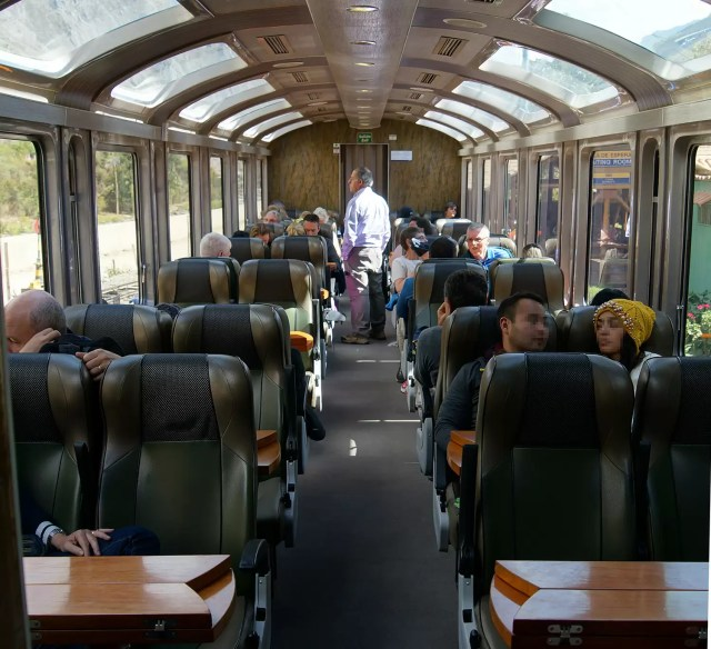 Inside the Vistadome train from Cusco to Machu Picchu