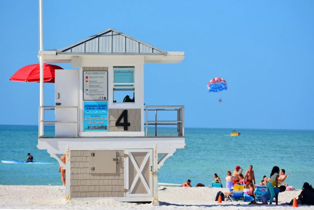 A lifeguard house at Clearwater Beach, Florida