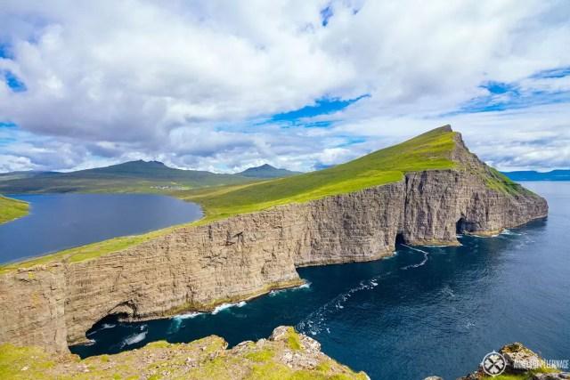 The Sørvágsvatn lake in Faroe Islands - looks like the lake was flowing above the ocean
