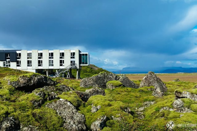 The green moss landscape around the Ion Adventure Hotel in Iceland