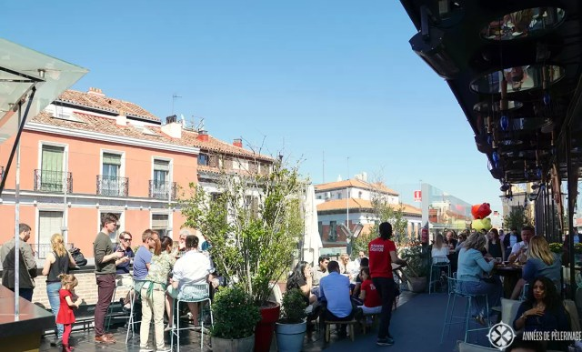 The rooftop bar at Mercado de San Antón in Madrid