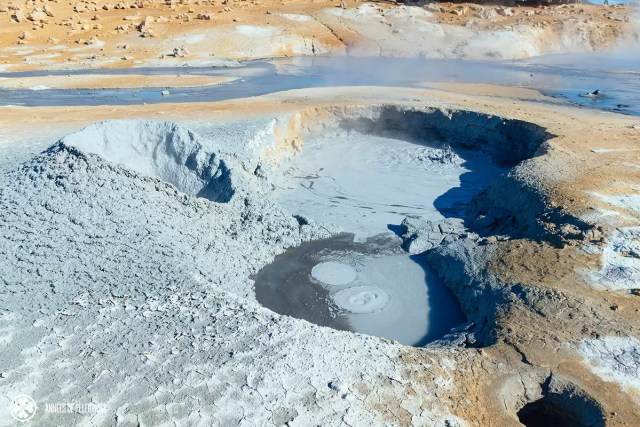 A couple of mud pools in Hverir near Lake Myvatn, Iceland