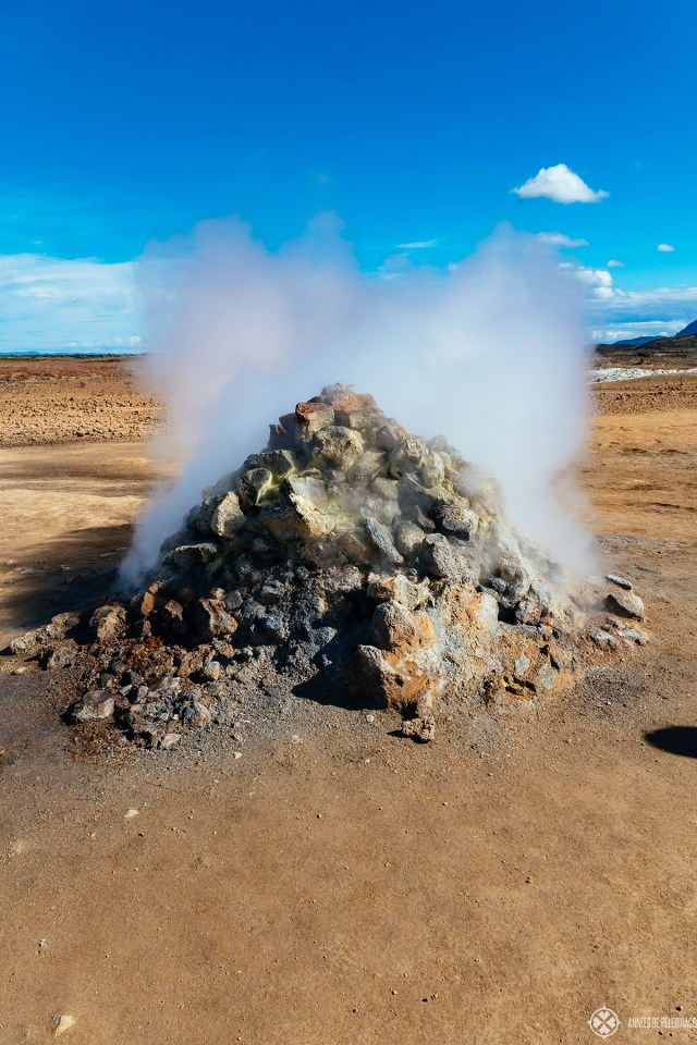 A fuming steam vent in the Hverir geothermal area in Iceland, near lake Myvatn