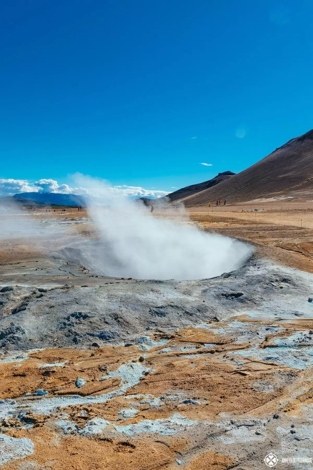 A steam vent looking like a small caldera in Hverir geothermal fields, Iceland