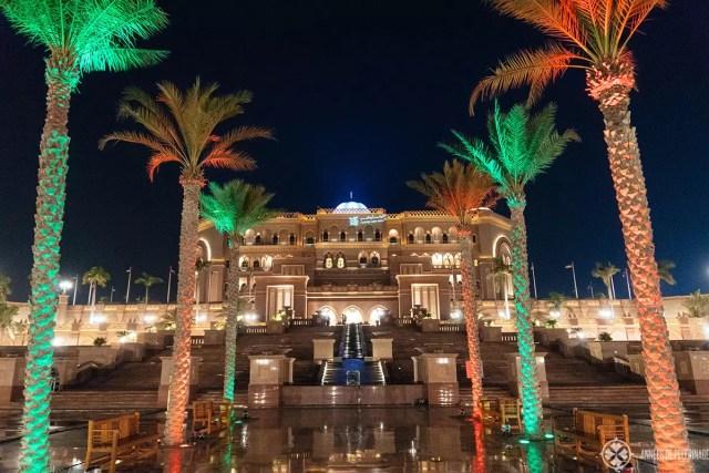 The emirates palace luxury hotel Abu Dhabi seen at night