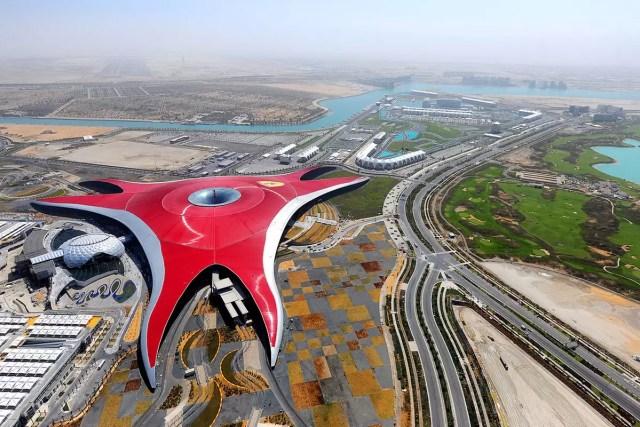 The Ferrari World Abu Dhabi as seen from above