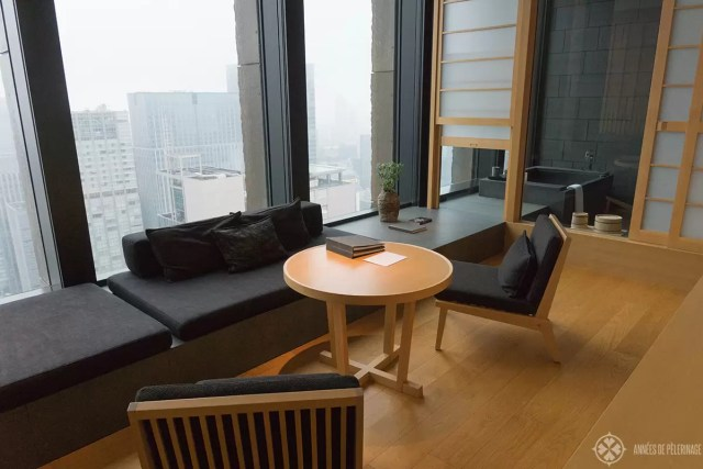 The sitting area of the rooms of the Aman Tokyo luxury hotel