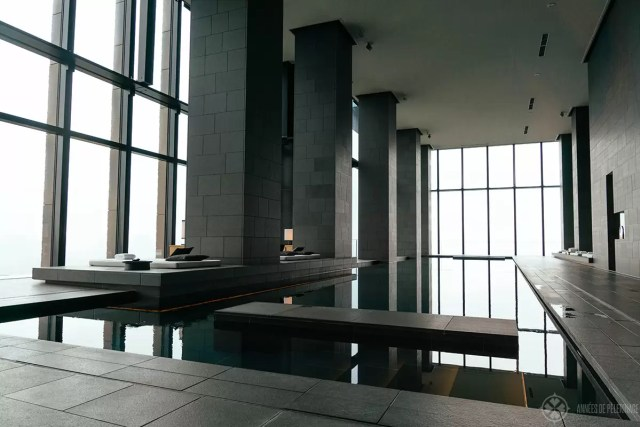 The main pool at the spa of the Aman Tokyo luxury resort