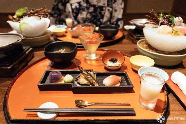A traditional Kaiseki Dinner at a Ryokan in Nikko, Japan