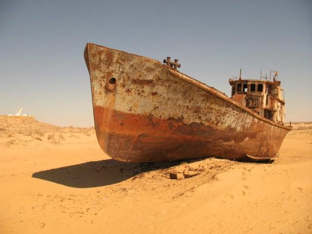 deserted ships on the old ships of lake aral Uzbekistan