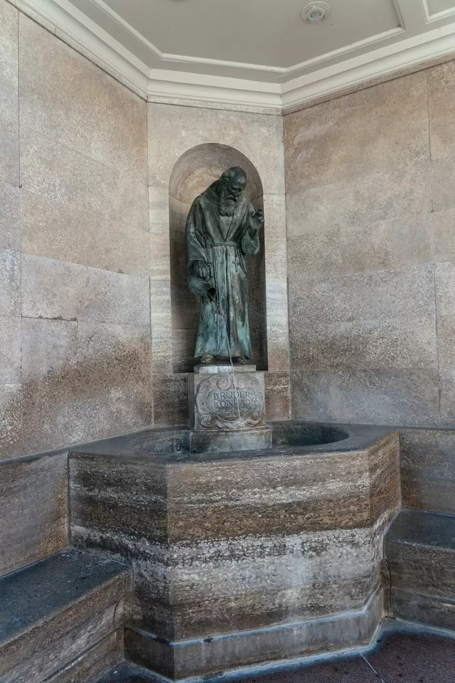 The fountain of Saint Konrad of Parzham in Altöttingen, Germany