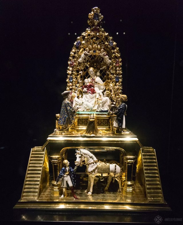 The golden Ross inside the pilgrimage museum in Altöttingen, Germany