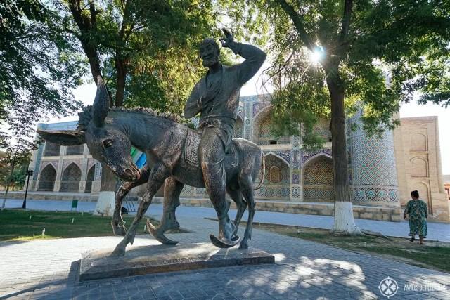 A statue of nazreddin in Bukhara, Uzbekistan