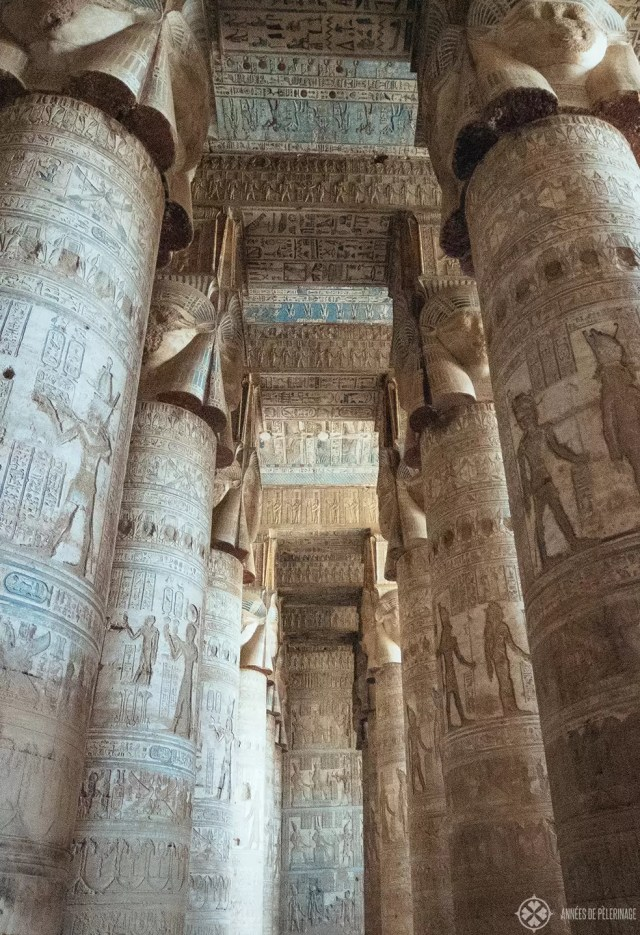 Hypostyle Hall of Dendara Temple - the most colorful and intact columns in Egypt