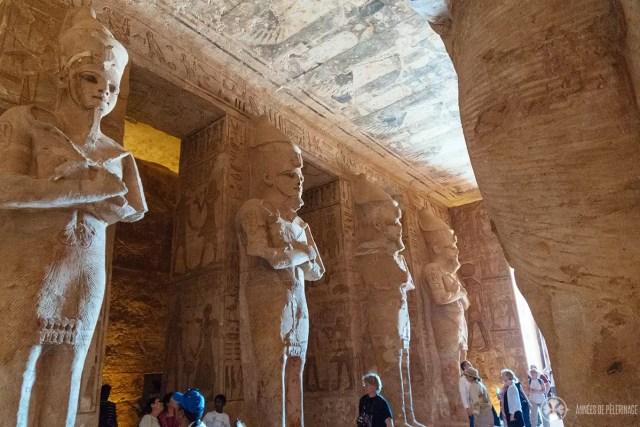 Gigantic statues of Ramses II inside Abu Simbel, Egypt