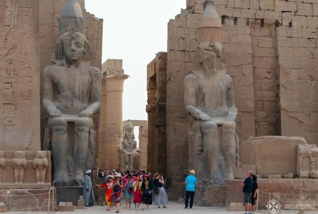 Gigantic statues of Ramses II in Luxor temple, Egypt