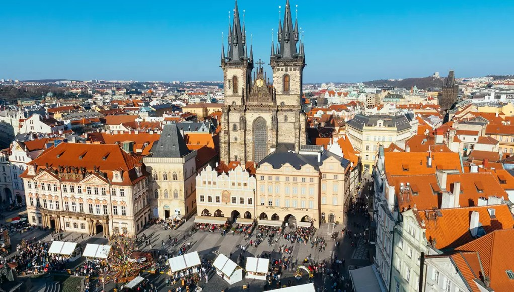 Old Town Square Prague from above (town hall tower)
