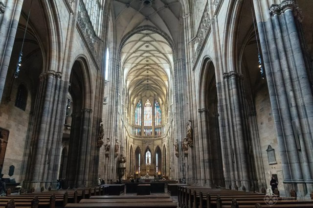 Inside the St. Vitus Cathedral in Prague Castle