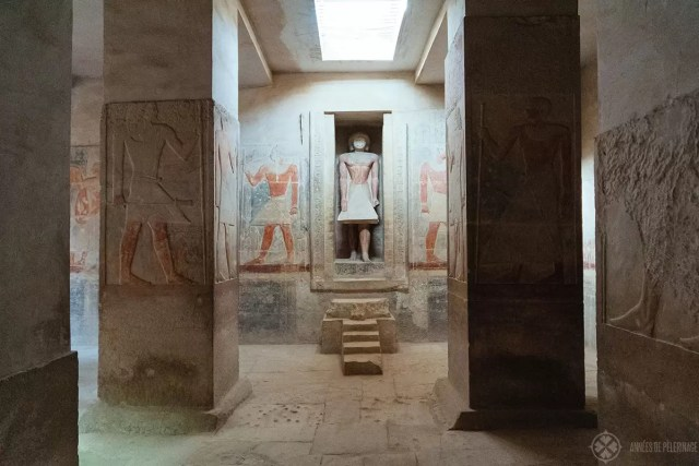 False door with a statue of Meruka inside his tomb in Saqqara