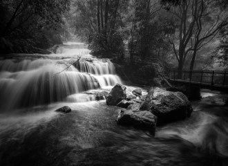 Blue Mountains Waterfall-after a storm b&w