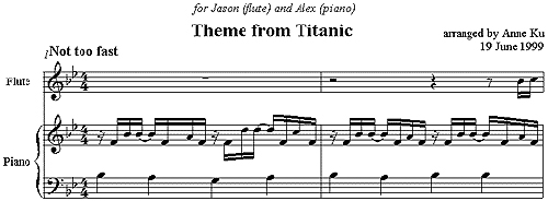Theme from the Titanic for Easy Piano and Flute – Concert Blog