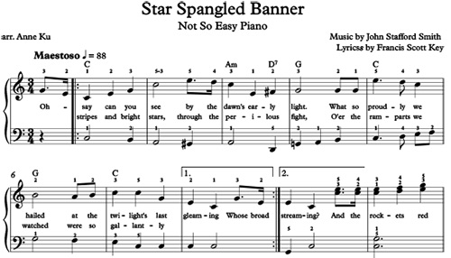 star spangled banner for not so easy piano arranged by anne ku