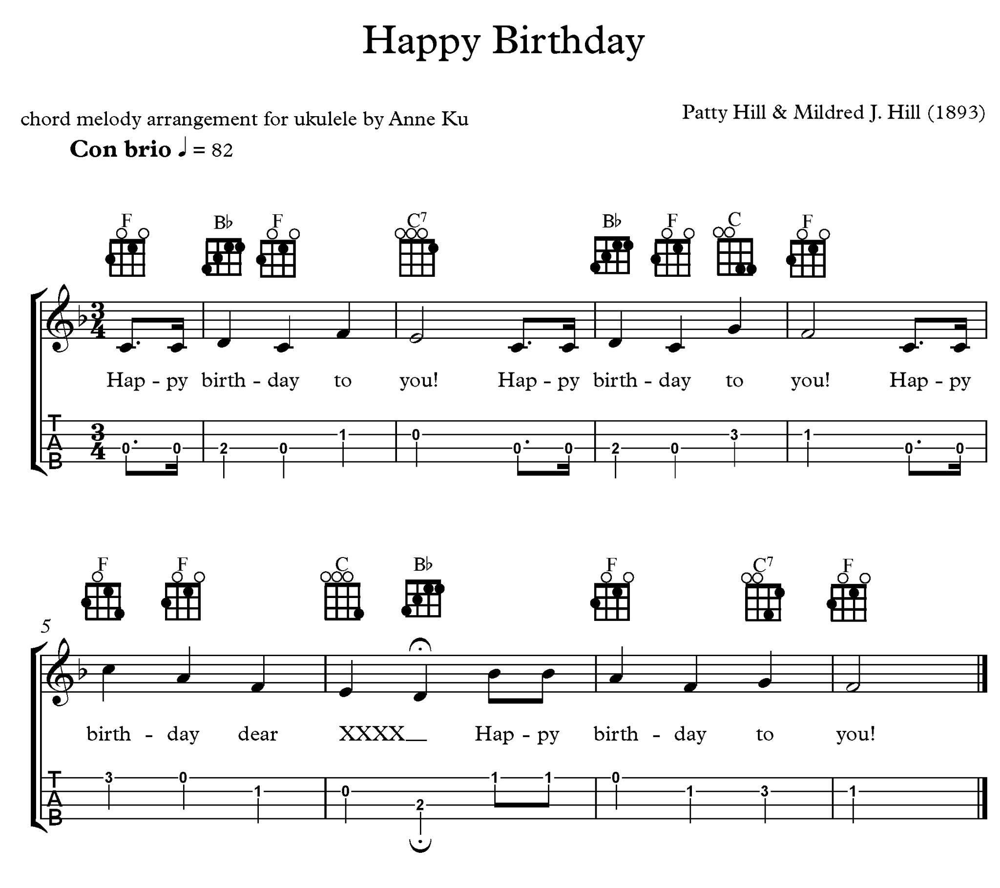 Happy Birthday chord melody arrangement for ukulele –Anne KuAnne Ku